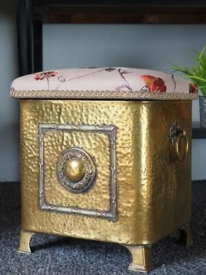 Antique Arts & Crafts Seat/Stool/Log Box Hammered Brass UK DELIVERY AVAILABLE