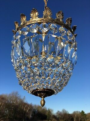 Large Vintage French Brass & Crystal Bag Chandelier. Sac a Perle.
