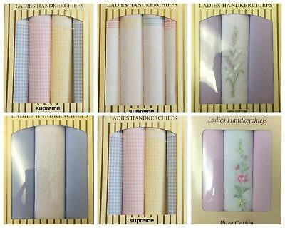 New Ladies 4/3 Pack Gift Boxed 100% Cotton Gingham/Floral Handkerchiefs Hankies