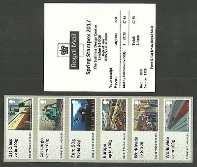 Gb 2017 B001 Stampex Spring Mail By Rail Train Collector Strip Post & Go Atm Mnh