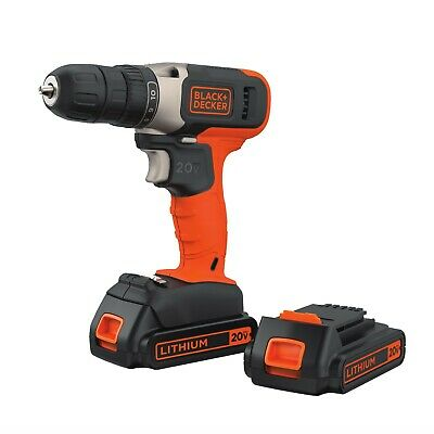Black Decker Cordless Drill With Battery And Charger Kit 20v Power Driver Fixer