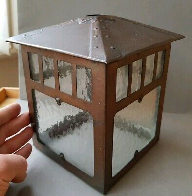 SOLID, CUBIC EARLY 20thc. ARTS & CRAFTS COPPERISED METAL & GLASS HALL LAMPSHADE