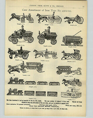 1905 PAPER AD 4 PG Cast Iron Toys Trolley Fire Truck Trains Steam Boat Police ++