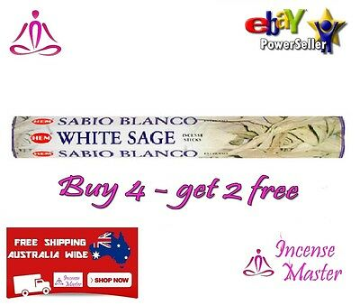 WHITE SAGE HEM Incense - HEX - 20g - 20 Sticks +FREE SAMPLES+BULK Incense Master
