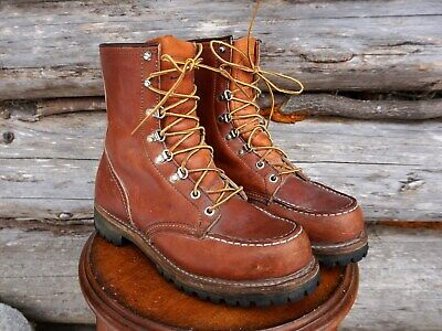 14236312dbf37 VINTAGE RED WING Irish Setter Moc Toe Hunting Boots. Made in the USA. Brown  US 7