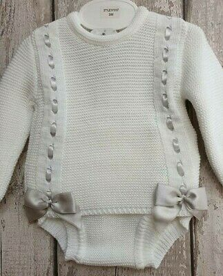 Spanish Style Baby Girl White and Grey Knitted Romper 2 Piece Set with Bows