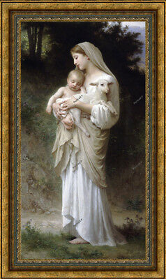 """Old Master Art Antique Portrait Virgin Mary Madonna Child Oil Painting 30""""x60"""""""