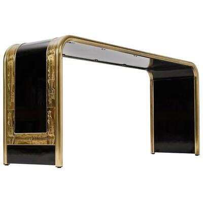 Mid Century Bernhard Rohne for Mastercraft Console Table w/Acid Etched Brass