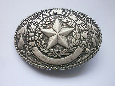 Vintage Old   Silver plated  Buckle Belt with  Bronze -  THE STATE OF TEXAS