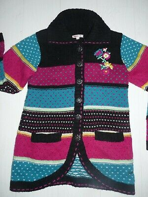 Auth  Kenzo Kids Coat Sweater Cardigan Girl 12 Years Flowers Stripes Multicolor