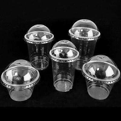 Disposable Clear Milkshake Cups with Dome Lids Straws Smoothie