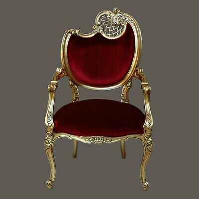 Stunning Baroque Rococo Pair Of Chairs In Red Velvet With Gold Leaf Frame 42''h