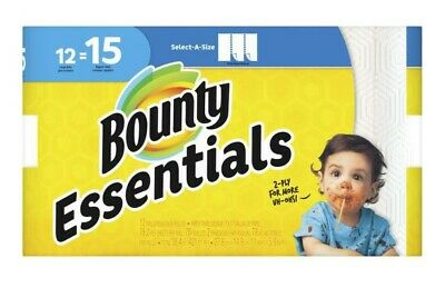 Bounty Essentials Paper Towels 12-Count Select-A-Size 2-Ply Large Rolls