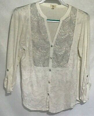 Tiny Womens Button Front Roll Sleeve Medium Cardigan With Ladies Button Blouse