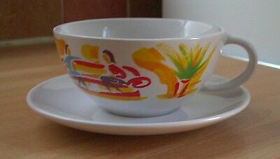 Nescafe 'Coffee Break' Large Cup/Saucer, retro vintage shabby chic
