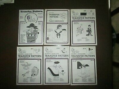 Pretty Punch Embroidery Iron-on Transfer People Patterns Lot of 6