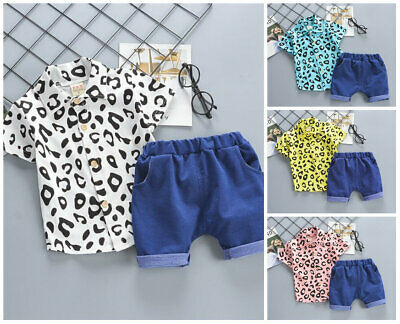 2pcs baby boys clothes summer outfits boys outfits top Tee+ short pants  leopard