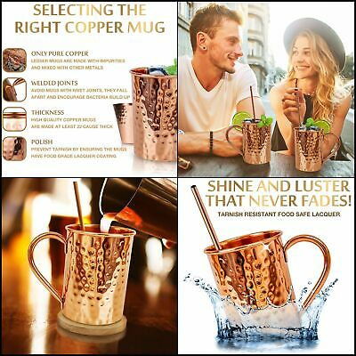 Moscow Mule Copper Mugs Set Solid Genuine Copper Mugs Cylindrical Shape