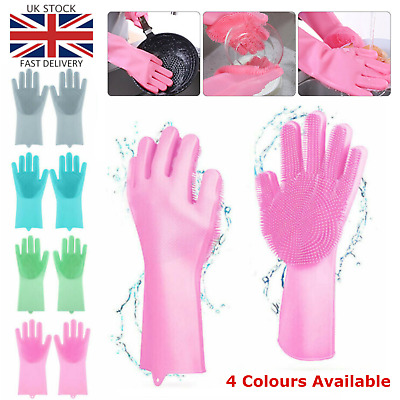 UK Magic Silicone Rubber Dish Washing Gloves 2 in 1 Remover Cleaning Scrubbing