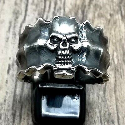 925 Sterling Silver Solid Heavy Skull Ring Men Biker Gothic Ring Punk Masonic