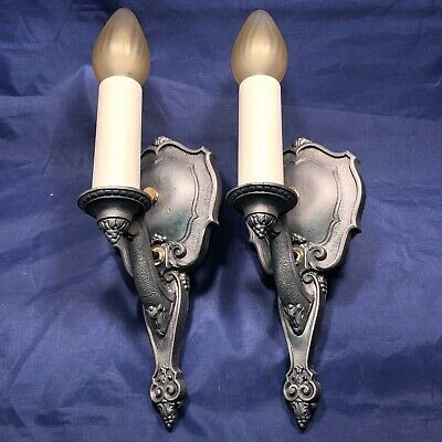 "Pair of antique signed ""RIDDLE"" wall candle sconces 78A"