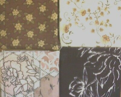 patchwork fabric offcuts/scraps/remnants - 4 designs- mainly browns
