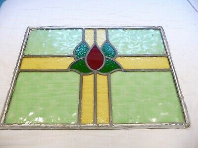 Antique 1930s Stained Glass window Panel Leaded Joint No Frame Art Deco Project