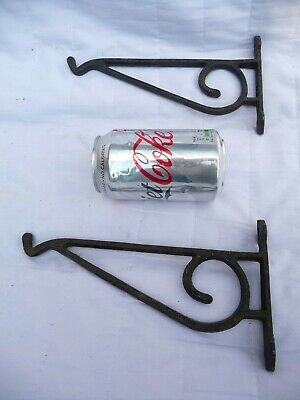 Vintage 1970s Small Cast Iron Hanging Brackets Hanging Basket Tools Shed Garage