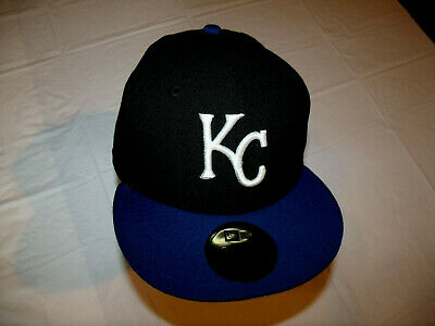 quality design 44d37 b2dc9 Kansas City Royals Black Hat Blue Brim New Era 59Fifty Fitted 7 1 2 100
