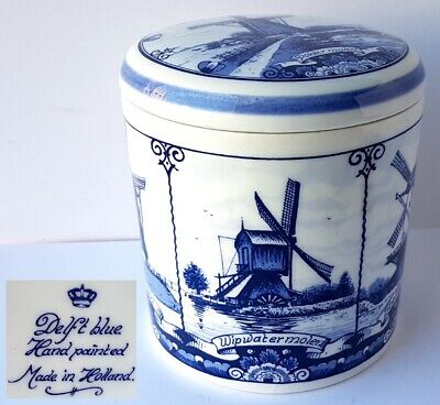 Delft Tin / Covered Dish Hand Painted Mill Holland um 1950 - 1960 M373