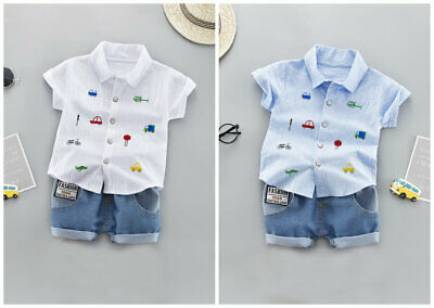 2pcs baby summer outfits boys party birthday outfits top shirt+ short pants