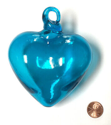 Large TURQUOISE HAND BLOWN GLASS HEART, Mexican handicraft, love, wedding, decor
