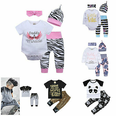 1 set Newborn Baby Boy Girls cotton Tops + Pants Outfits & set Clothes Set