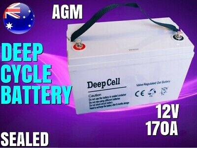 New 170A Agm 12V Deep Cycle Battery Sealed Dual Fridge Boat Power Led