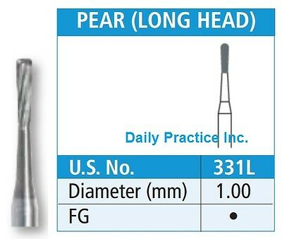 Johnson-Promident Carbide Burs FG-331L PEAR LONG HEAD Select Quantity