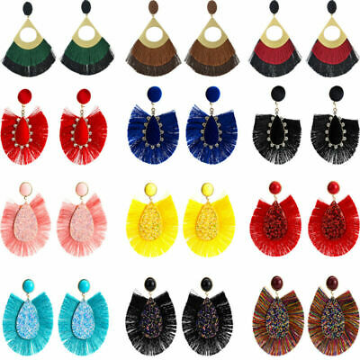 Fashion Bohemian Alloy Drop Dangle Long Tassel Stud Earrings Boho Womens Jewelry