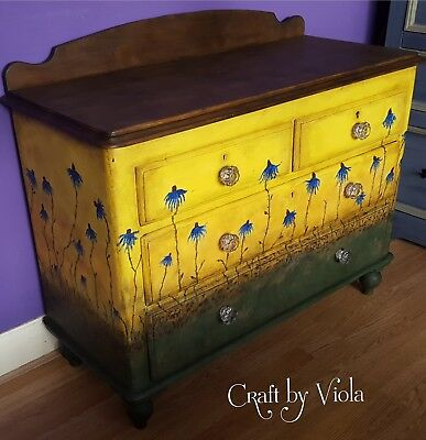 Antique/Victorian/Farmhouse/Pine/Chest of drawers/Hand painted/yellow