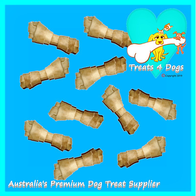 """BUFFALO RAWHIDE KNOTS 2"""" X 50 TREATS 4 DOGS (Safe Not Bleached) Natural Chews"""
