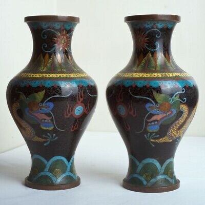 Pair of Chinese Cloisonne on Brass Vases Decorated with Dragons & Flaming Pearls