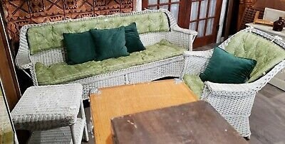 *Super Nice* Vintage Wicker Couch And Matching Chair With Custom Cushions.