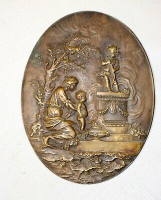 high quality antique Victorian 1800's ornate figural bronze relief wall plaque