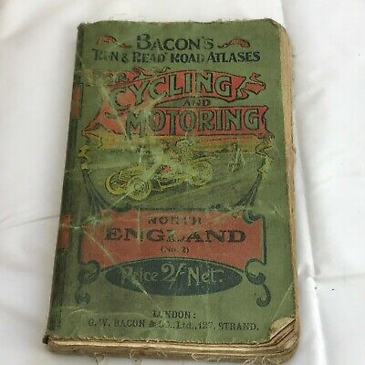 Vintage Antique Bacons Run And Read Road Atlas Cycling Motoring North England