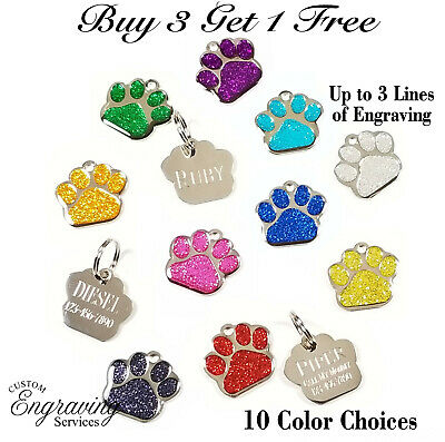 Glitter Paw Print Pet Id Tag Custom Engraved Dog Cat Customized Animal Shelter
