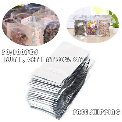 50/100Pcs Grip Resealable Zip Lock Bags Self Seal Clear Plastic Poly Ziplock Bag
