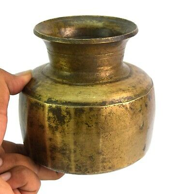 Vintage Indian Religious Old Brass Holy Water Pot Great Home Decor. G56-114 US