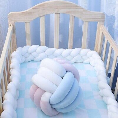 Baby Bed Bumper Pure Weaving Plush Knot Baby Crib Protecting Decor Comfortable