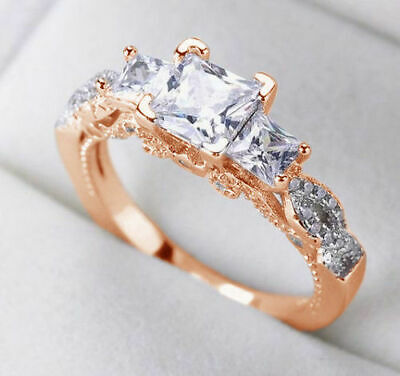 Ladies Bridal Band Engagement Set 10k Rose Gold Finish Princess Cut Diamond