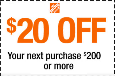 ONE 1x Home Depot Coupon $20 OFF $200 On Single Purchase InStore Only Ultra Fast