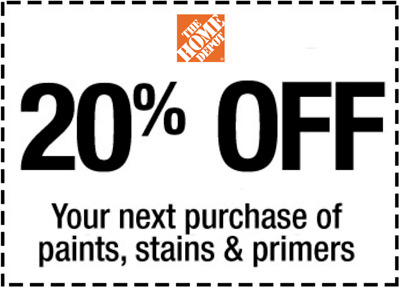ONE 1x Home Depot Coupon 20% OFF Paint Stains & Primer InStore Only Ultra Fast