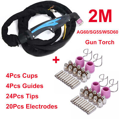 Plasma Cutting Torch WSD60/AG60/SG55 2M & 52Pcs Consumables Electrodes Tips Cups